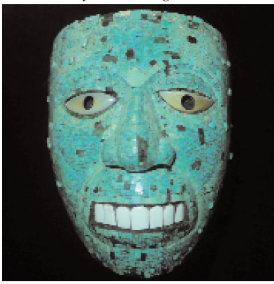 Turquoise mosaics in ritual Aztec mask